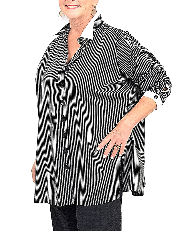 SOPHIE FINZI NY Womens Aline Striped Cotton Shirt Sz XL Black/White 190160E