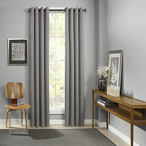 Eclipse 52 x 95 Insulated Darkening Single Panel Grommet Top Window Treatment Living Room, Grey