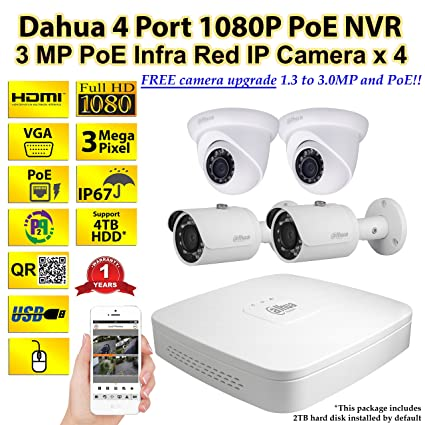 Latest Dahua 4 Port PoE 1080P NVR with 3 Megapixel PoE Infra