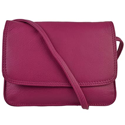 977b6d80af Ladies Small LEATHER CrossBody Bag by Hansson Nordic Blue Collection Handbag  (Fuchsia)  Amazon.co.uk  Luggage