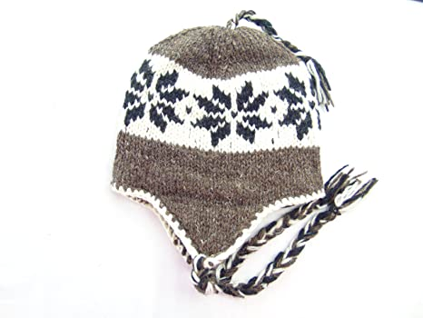 564cda4d3 Amazon.com : Nepal Hand Knit Pure Large Lotus Leaf Sherpa Hat ...