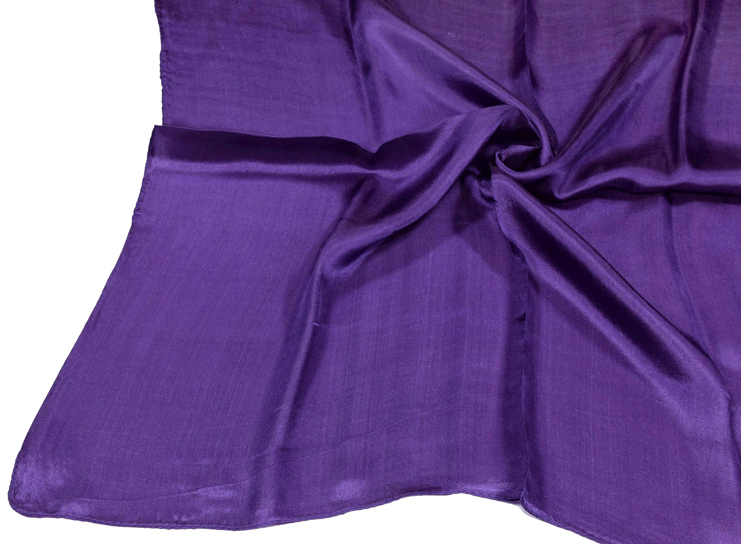Deep Purple Small Fine Silk Square Scarf by Bees Knees Fashion (Image #5)