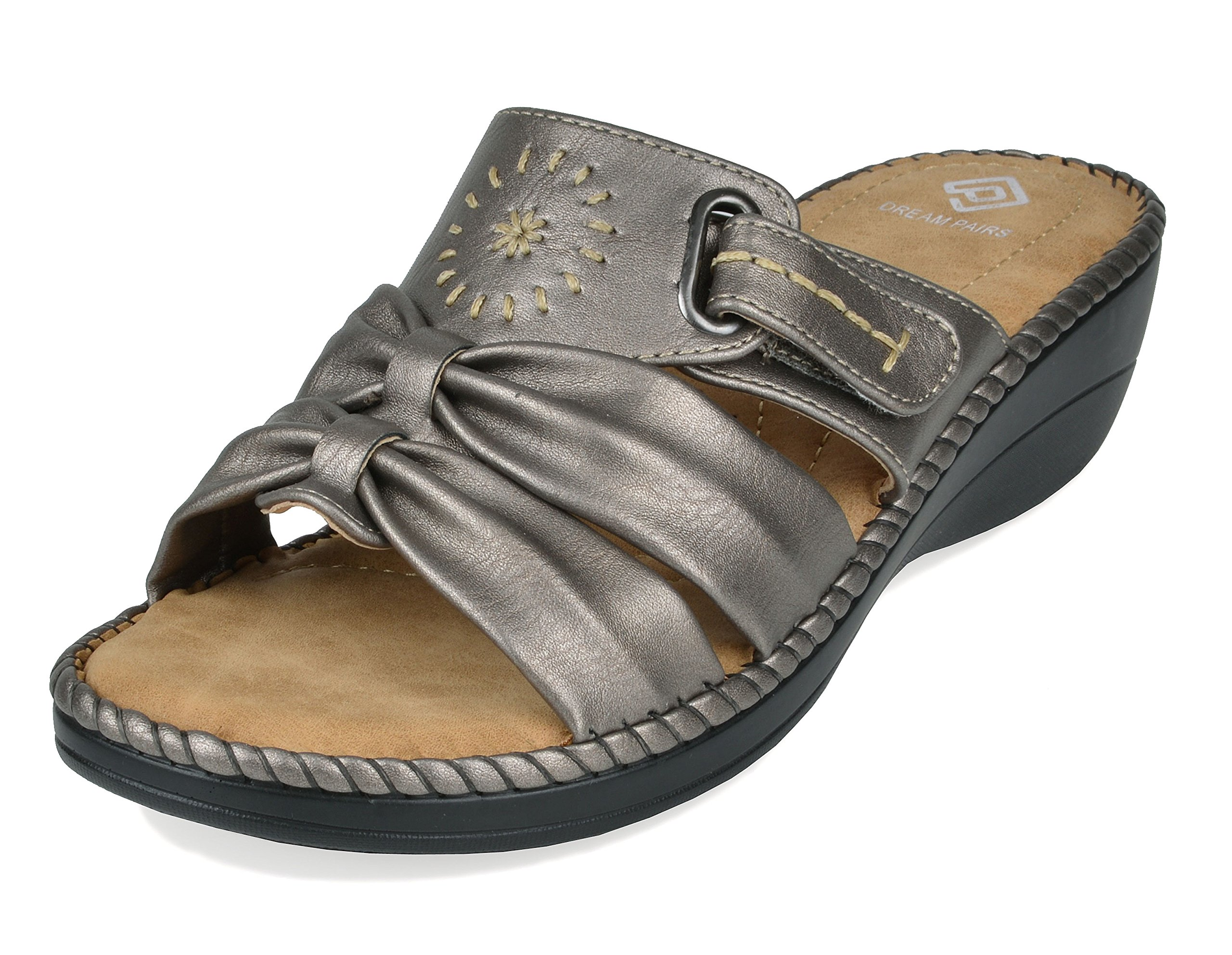 6da8ded9da Galleon - DREAM PAIRS Women's Truesoft_08 Pewter Low Platform Wedges Slides  Sandals Size 8.5 B(M) US
