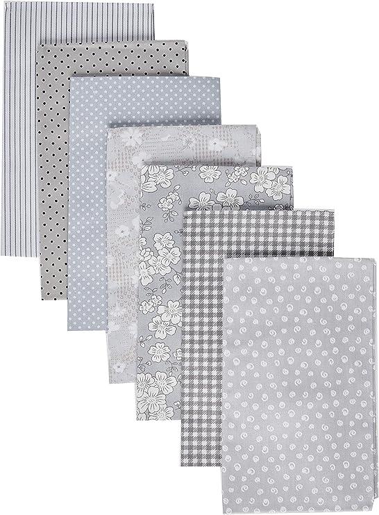 Gris serie algodón Tejido acolchado Patchwork tela de retales de tela para costura DIY Crafts hecho a mano bolsas almohadas 40 x 50 cm 7pcs/lot: Amazon.es: Juguetes y juegos