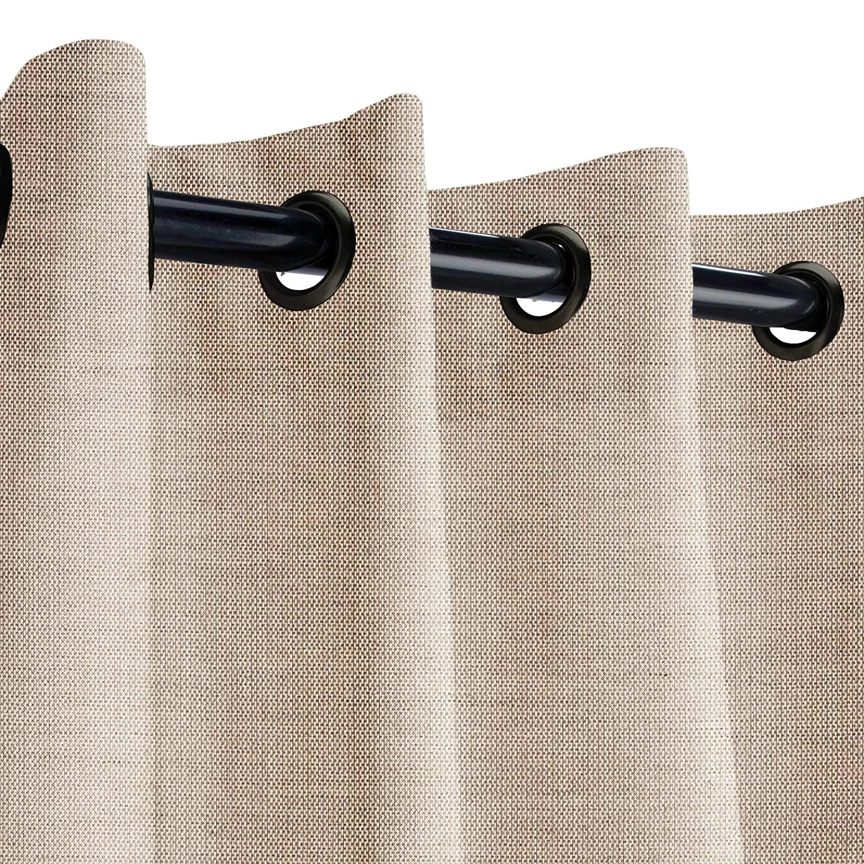 Wide x 84 in Long Sunbrella Sheer Snow Outdoor Curtain with Dark Gunmetal Grommets 50 in