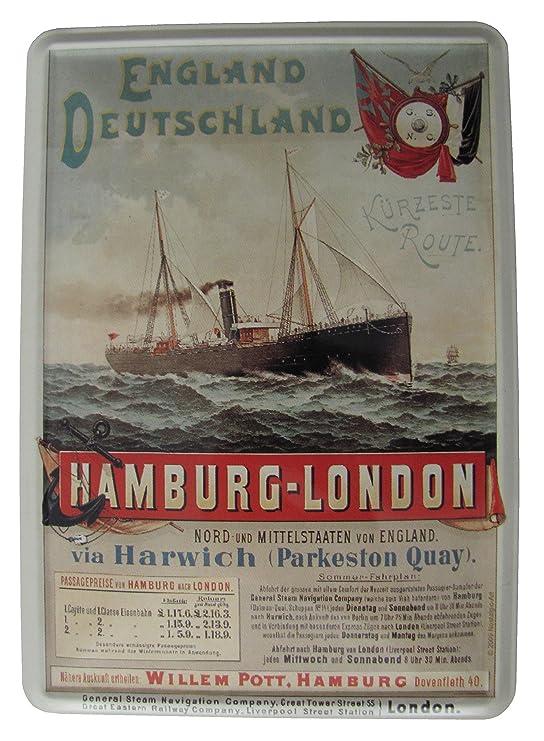 Amazon.de: Schiffsrederei - Route Hamburg London - Blechschild 10x14 cm