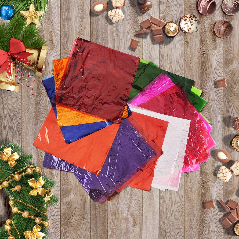 9 Colors 8 x 8 Inch 135 Pieces Cello Sheets Cellophane Wraps Sheet