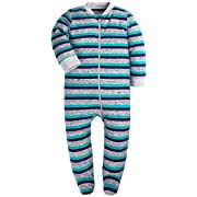 Baby Cotton Cartoon Pajamas Front Zip Baby Girls Boys Long Sleeve Romper (Green and Blue, 0-3 Months)