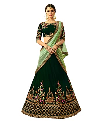 6ea764659d06 Vritikamesmer Dark Green Colour Velvet Designer Lehenga Choli: Amazon.in:  Clothing & Accessories