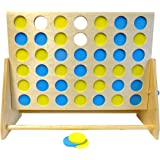 Mightymast Leisure Giant Indoor & Outdoor Quality 4 In A Row Garden Game With FSC 100% Certified Wood & Stylish Blue & Yellow Counters