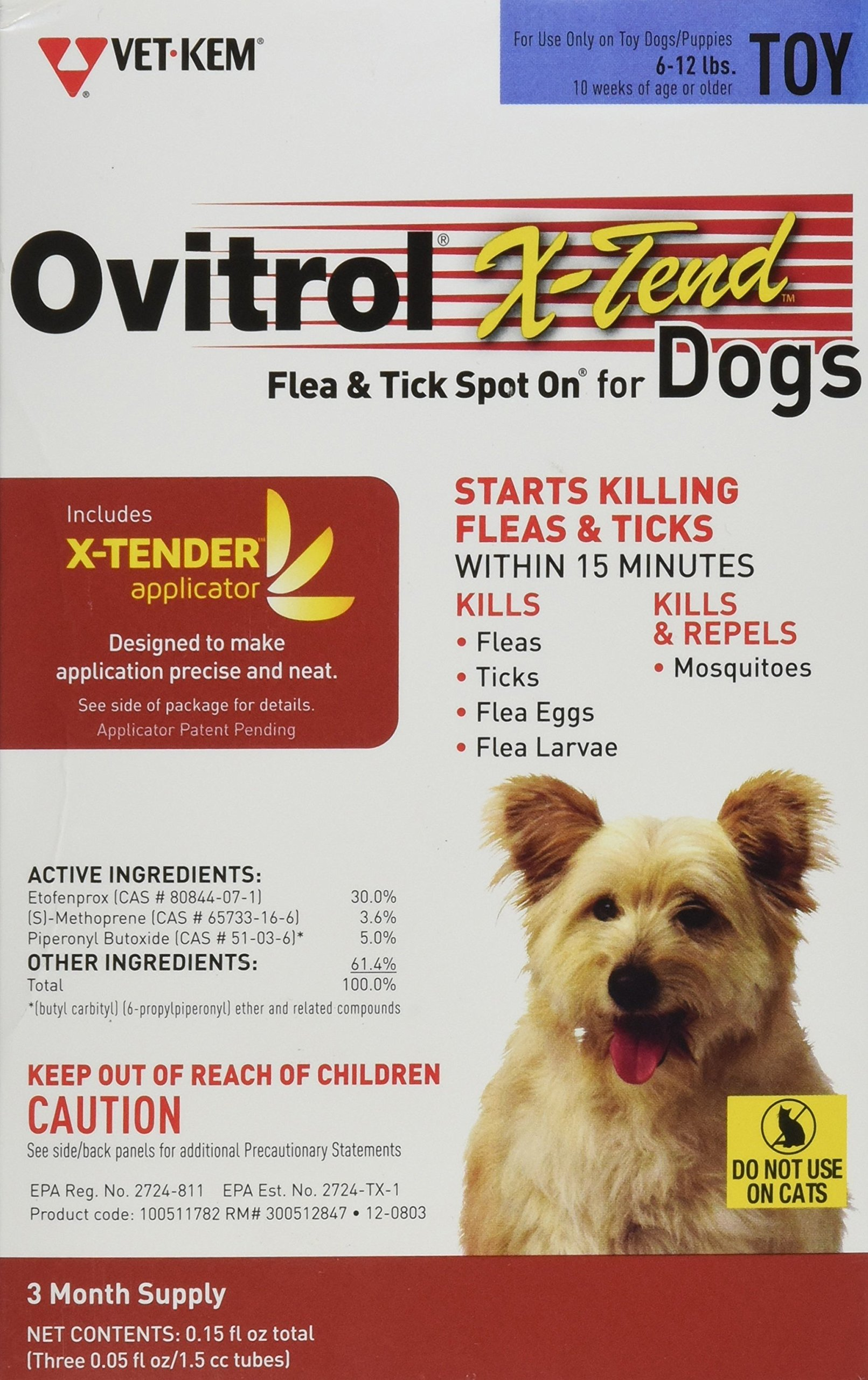 Ovitrol Vet-Kem 3-Pack X-Tend Pest Control Spot on for Dog Toy, 6 to 12-Pound