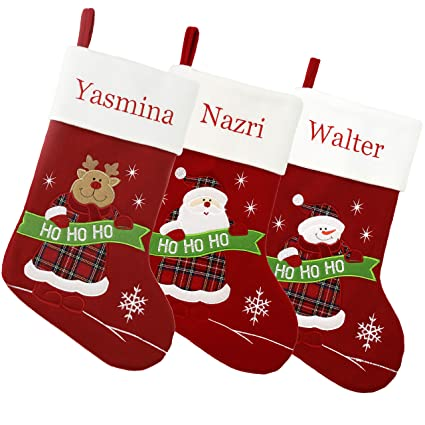 wewill set of 3 pieces personalized christmas stockings home decorations gifts for family color 2 - Christmas Decorations For Stockings