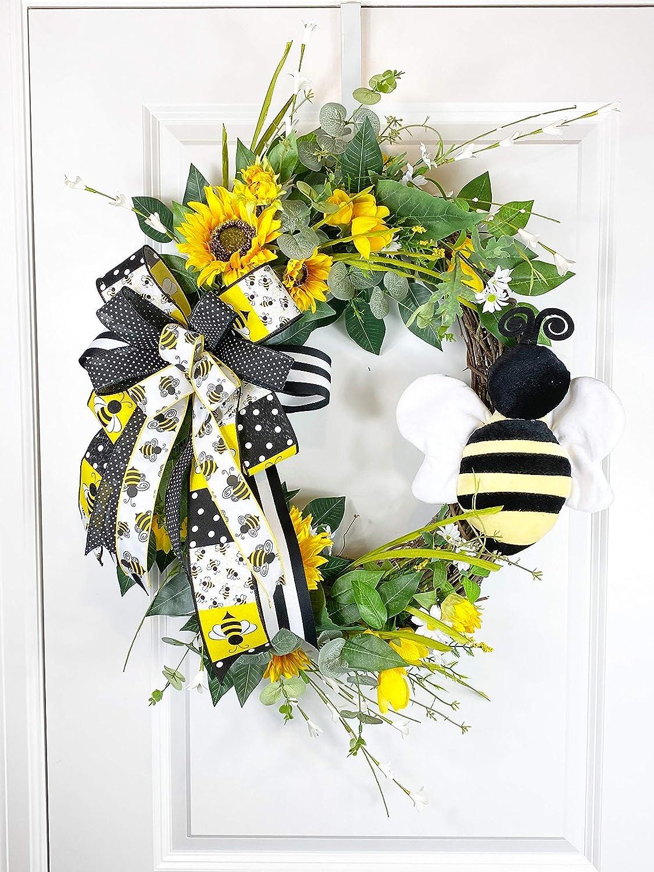 Sunflower wreath bow Fall Wreath bow Summer Wreath bow Burlap sunflowers Wired Sunflower ribbon Fall decoration Sunflower decoration
