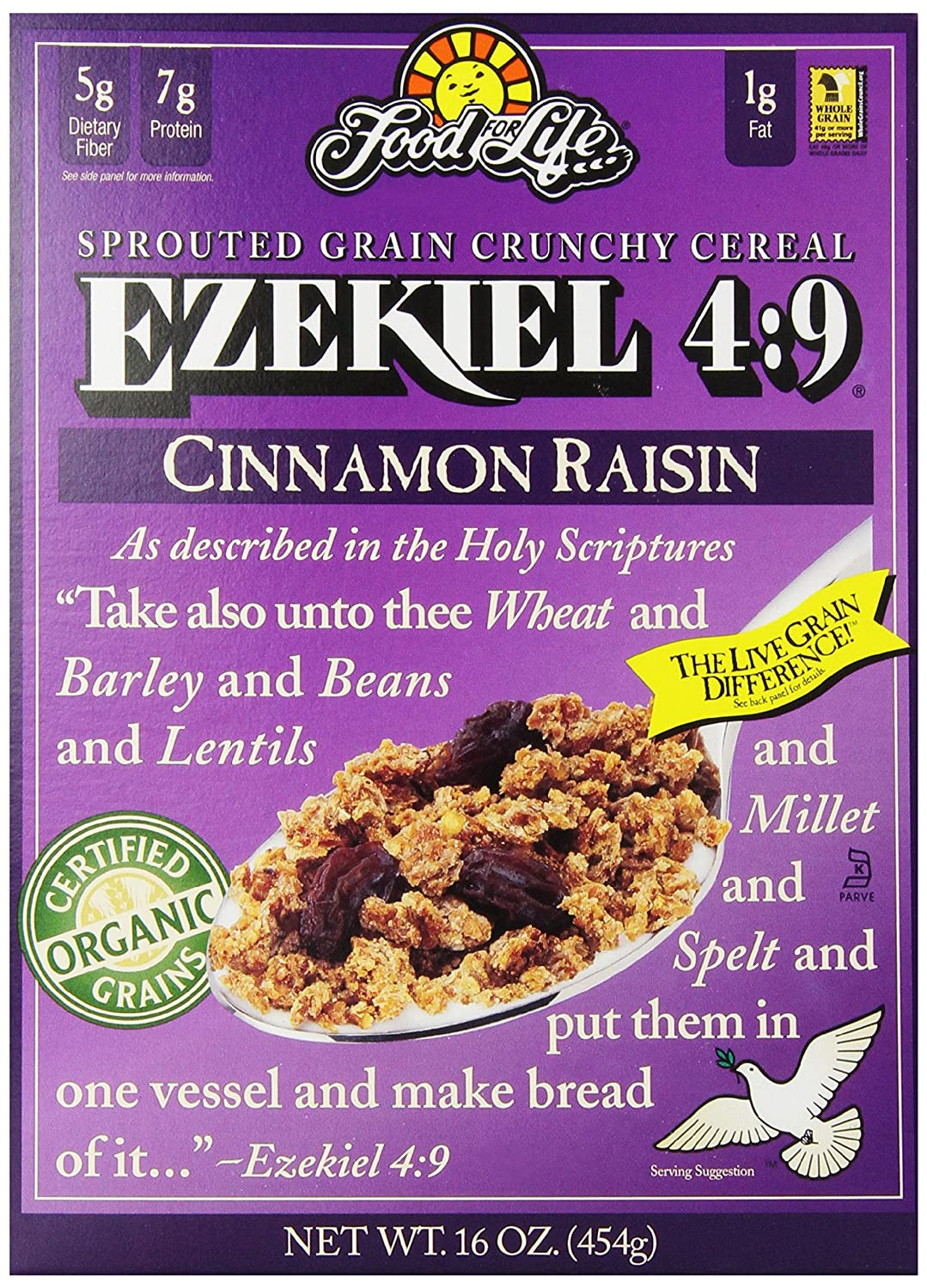 Food For Life Ezekiel 4:9 Organic Sprouted Grain Cereal, Cinnamon Raisin, 16-Ounce Boxes (Pack of 6)
