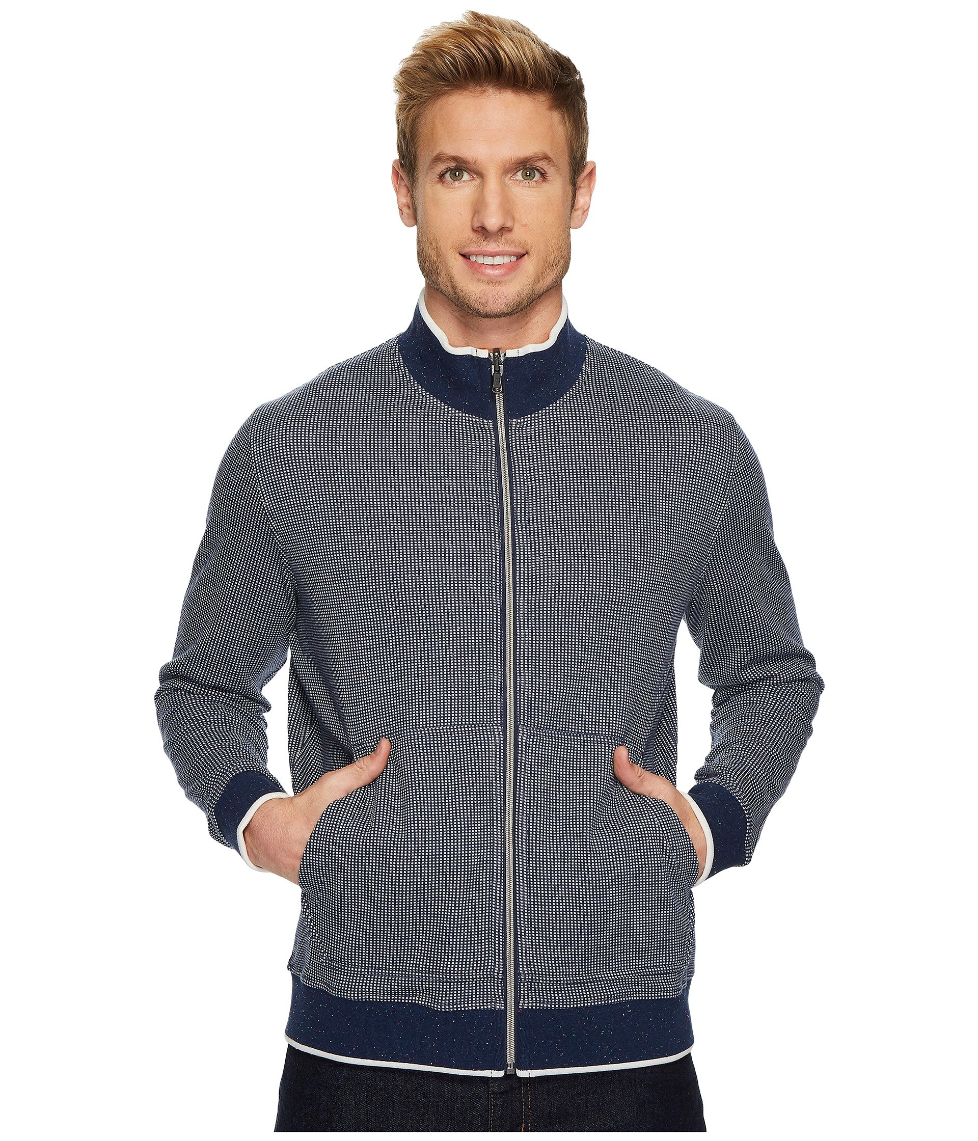 Robert Graham Men's Rivers Cotton Reversible Full Zip Knit, Navy, Medium