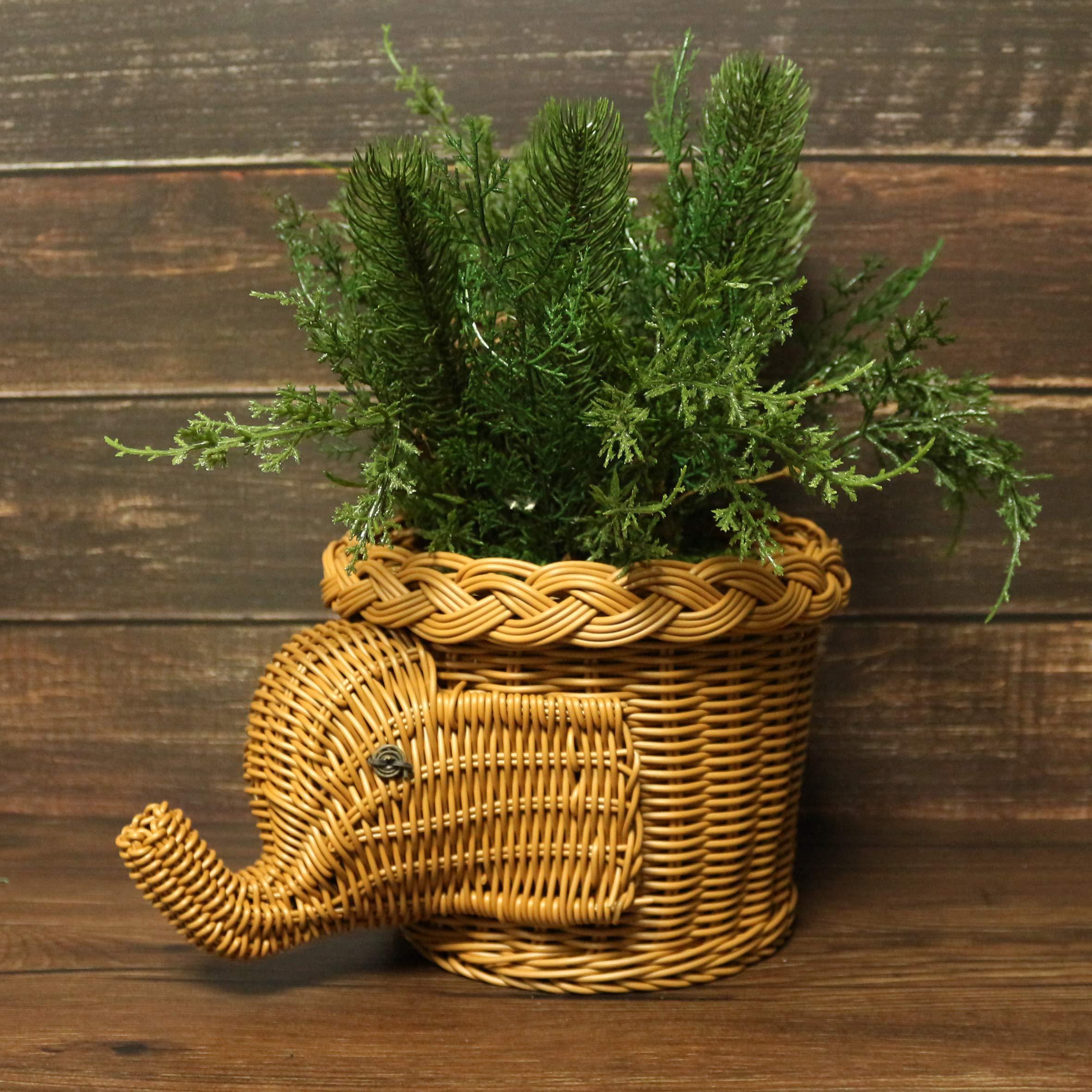 CVHOMEDECO. Elephant Design Imitation Rattan Fruit Basket Bread Basket Storage Basket Resin Wicker Artificial Plant Holder. Light Brown, 11-1/2''L by CVHOMEDECO. (Image #3)