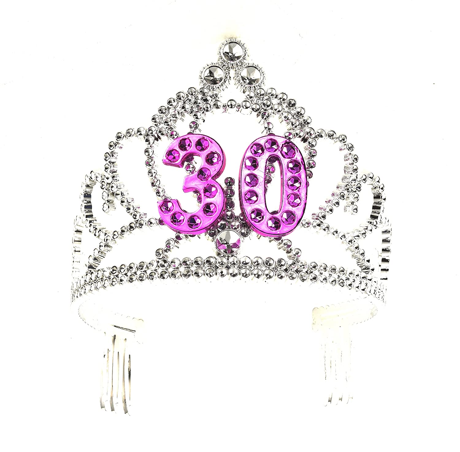 Amazon.com: Forum Novelties Happy Birthday 30th Silver Pink Tiara ...