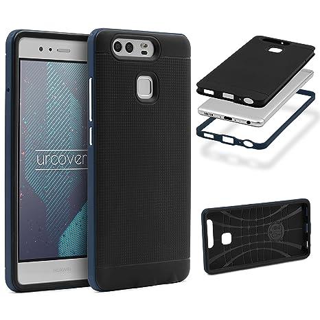 Urcover® Armor Case Neo Hybrid | Huawei P9 | Carcasa Antigolpes TPU + Bumper Silicona en Azul | Funda Antichoque Resistente Protectora