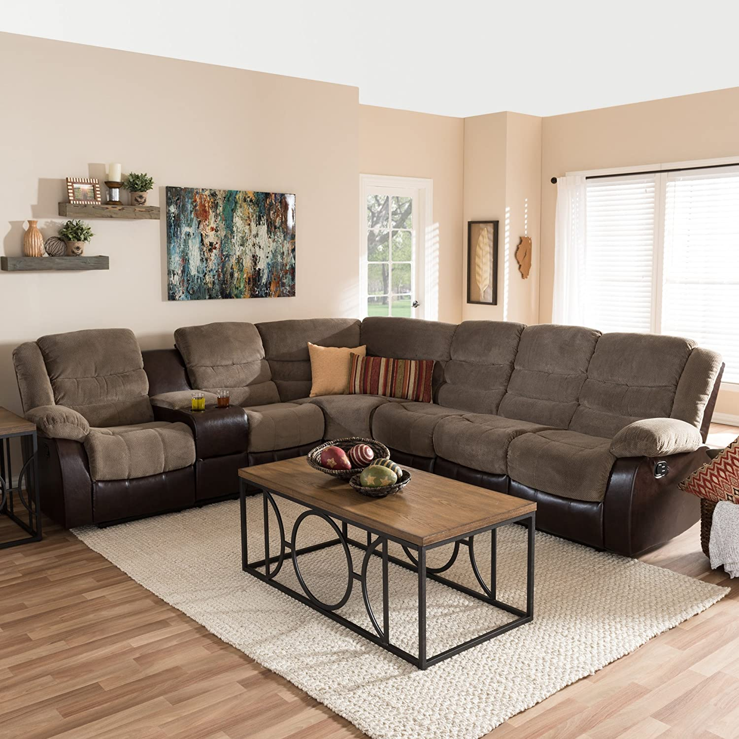 Fabulous Amazon Com Baxton Studio Robinson Reclining Sectional In Squirreltailoven Fun Painted Chair Ideas Images Squirreltailovenorg