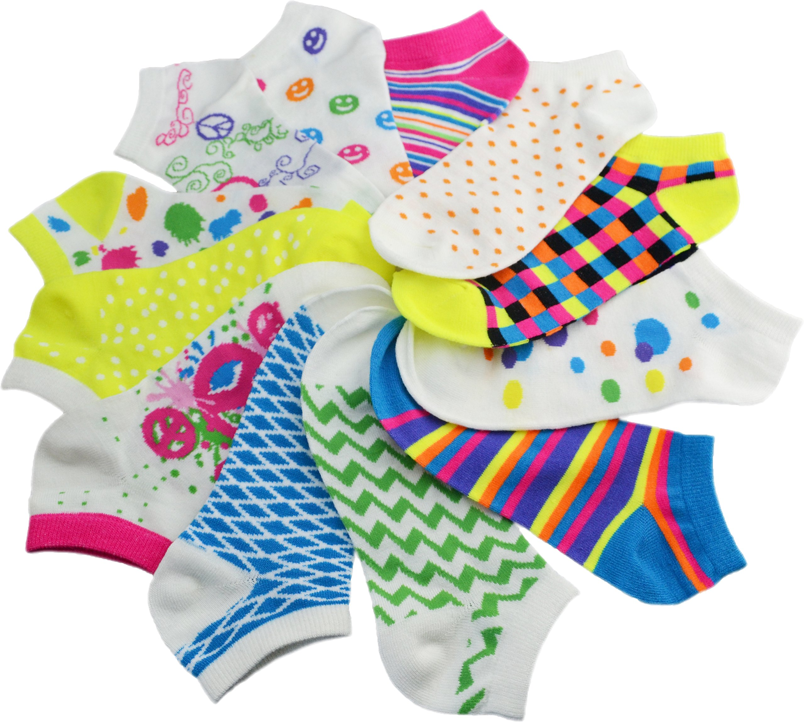 Women's 6-Pairs Low Cut Colorful Patterned Fashion Design Ankle Novelty Mix No Show Socks,Size(9-11)
