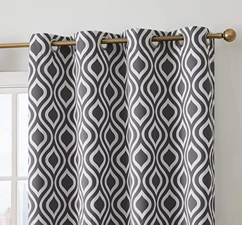 Emvency Window Curtains 2 Panels Rod Pocket Drapes Satin Polyester Blend Watercolor Pattern Made by Paint Strokes Black and White Brush Living Bedroom Drapes Set 104 x 84 Inches