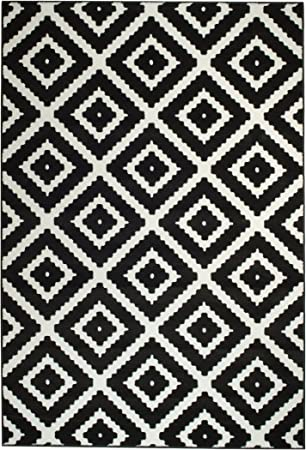 Summit 46 Black White Diamond Area Rug Modern Abstract Many Sizes Available Door Mat 22 Inch X 35 Inch