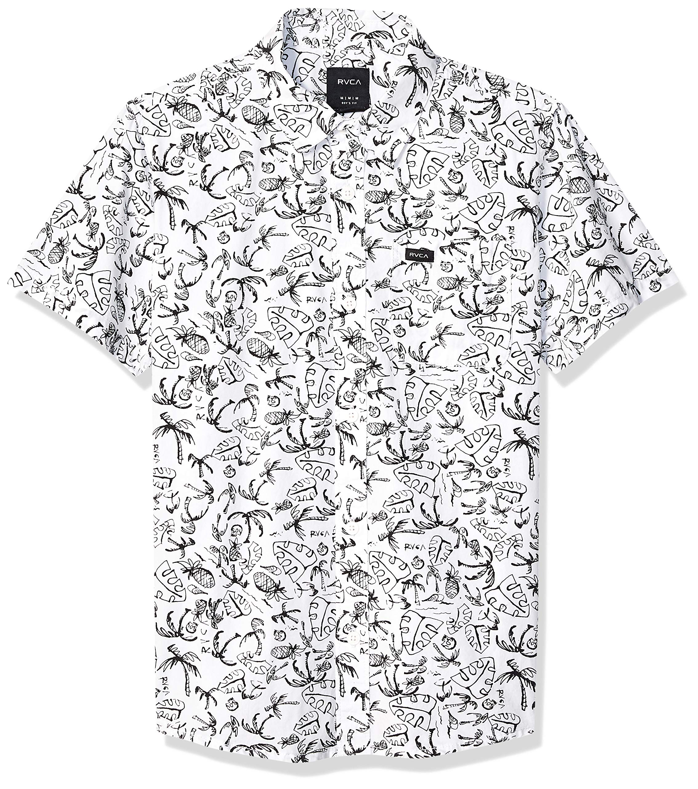 RVCA Boys' Big Sketchy Palms Short Sleeve Woven Button UP Shirt, Antique/White, S