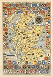 Historical Map of Scotland. by L.G. Bullock. John Bartholomew & Son Ltd. Edinburgh, 1950 - Vintage Wall Art - 24in x 36in