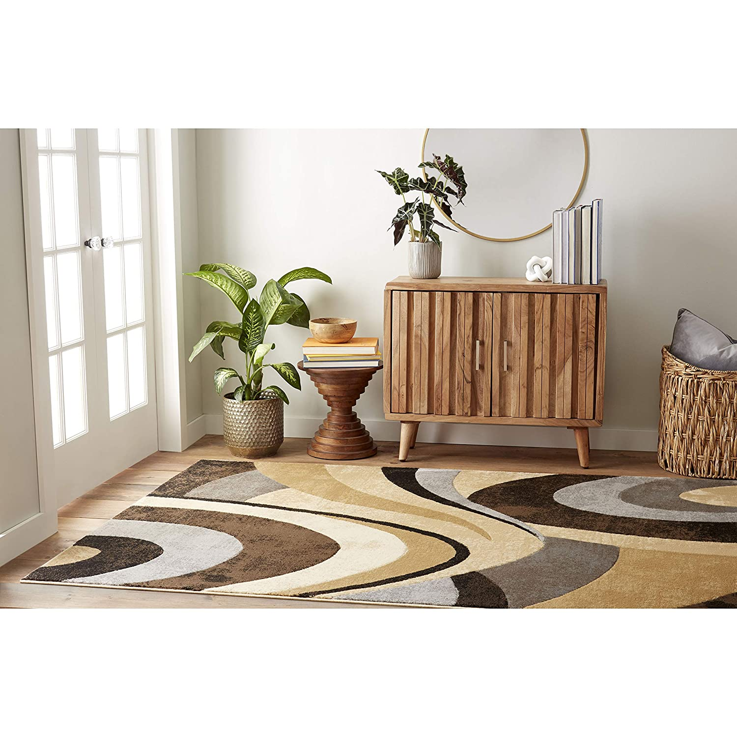 Home Dynamix Tribeca Slade Modern Area Rug, Abstract Brown/Gray 3 Piece Set
