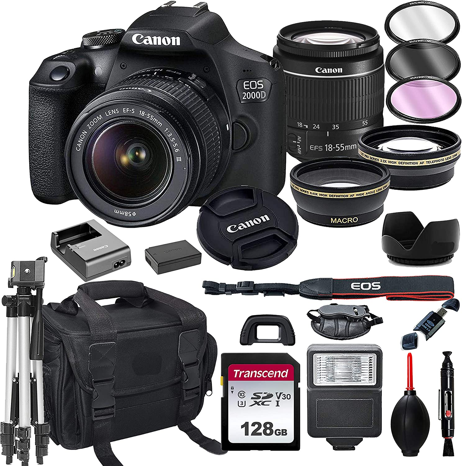 Canon EOS 2000D DSLR Camera with 18-55mm f/3.5-5.6 Zoom Lens + 128GB Card, Tripod, Flash, and More (20pc Bundle)