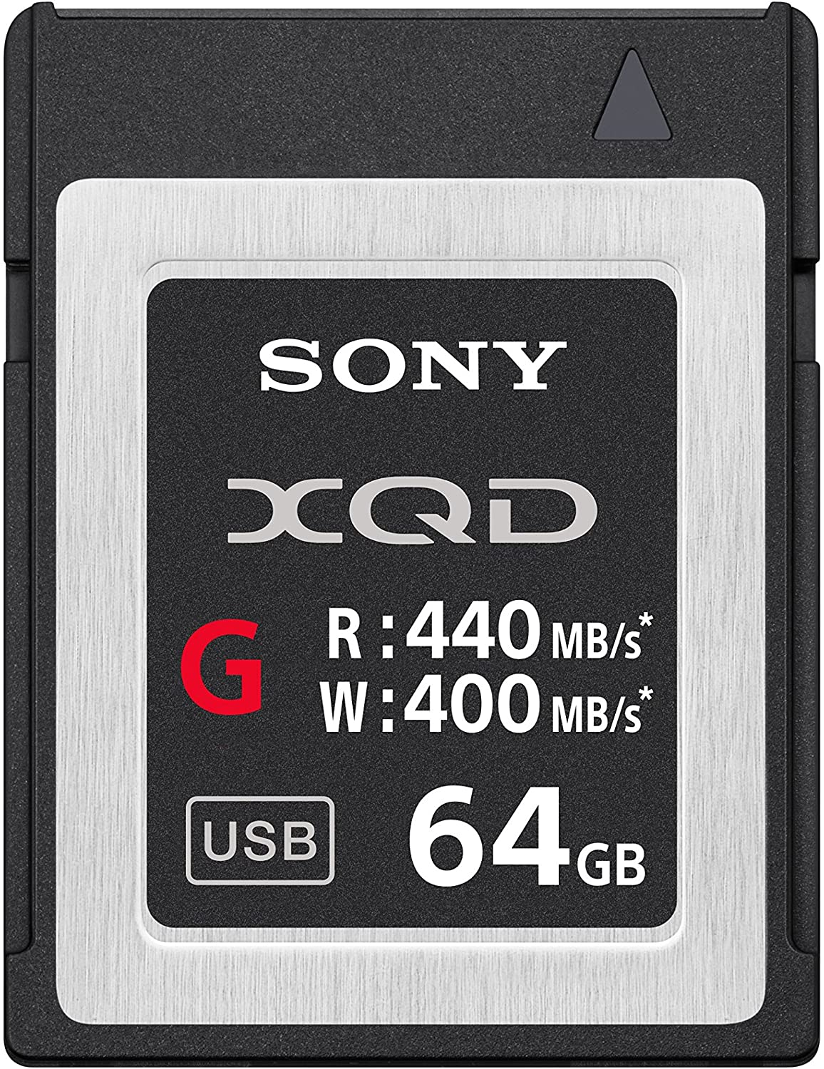 Close-up photo of the Sony memory card with specs written on it
