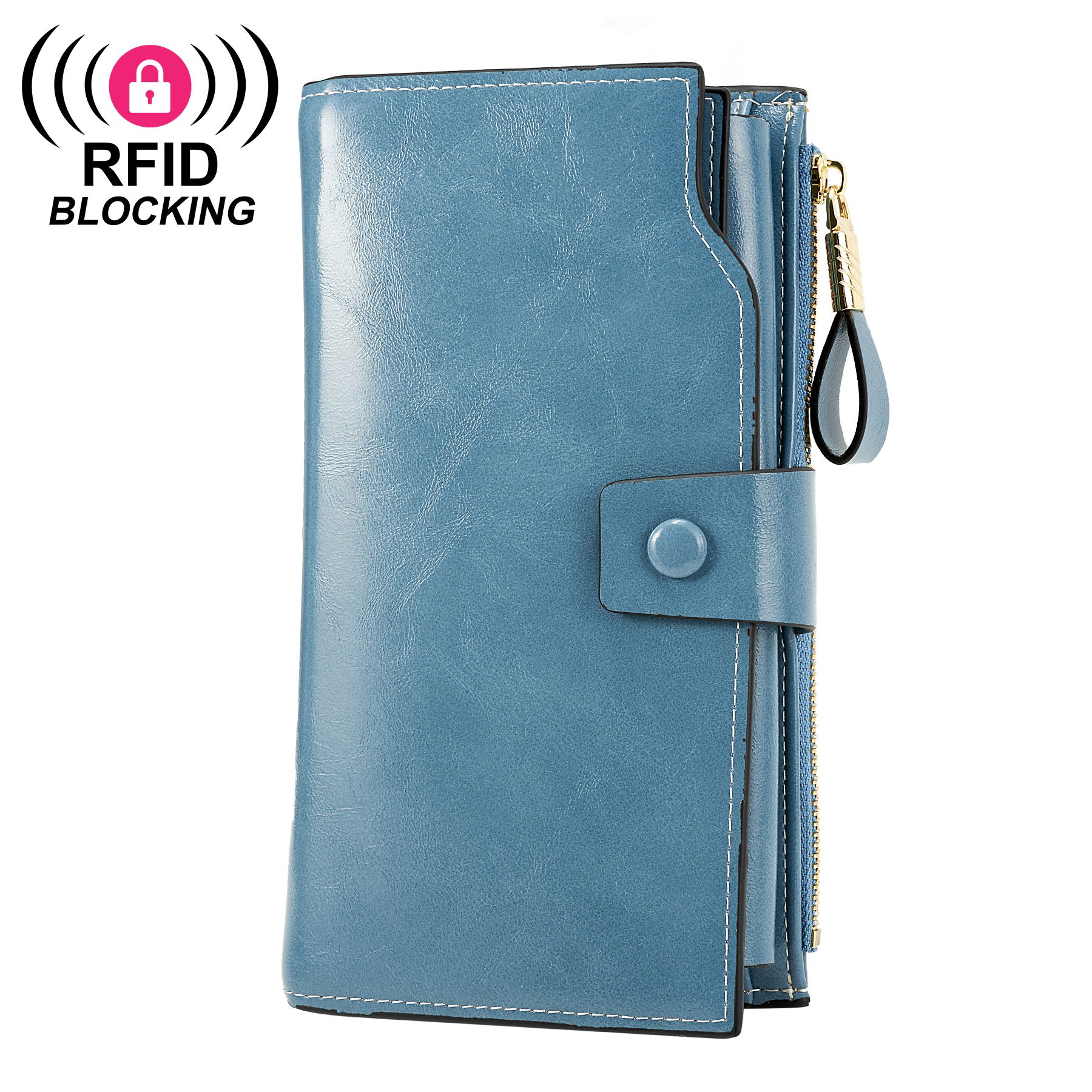 WOZEAH Women's RFID Blocking Large Capacity Luxury Wax PU Leather Clutch Wallet Card Holder Organizer Ladies Purse (blue)