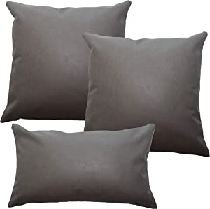 Faux Leather Pillow Cover Set - Gray Leather Pillow Covers 18x18, 12x20 Leather Lumbar Pillow - Accent Home Decor - Luxury Modern Boho, Farmhouse Room Decor - Bedroom, Couch, Living Room, Sofa, Bed