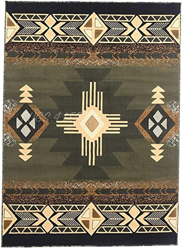 Rugs 4 Less Collection Southwest Native American Indian Area Rug Design R4L 318 Olive Green, Sage Green 3 10 x5 1