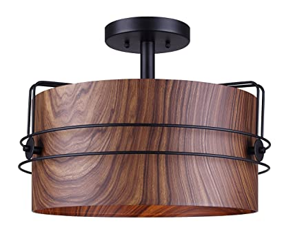 brand new ece66 5fe7d Canram ISF504B03BKW Silas Semi-Flush Mount Light with Faux Wood Shade