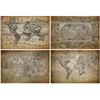 Placas Decorativas Vintage Mapas Antigos 20x30cm Kit 4un