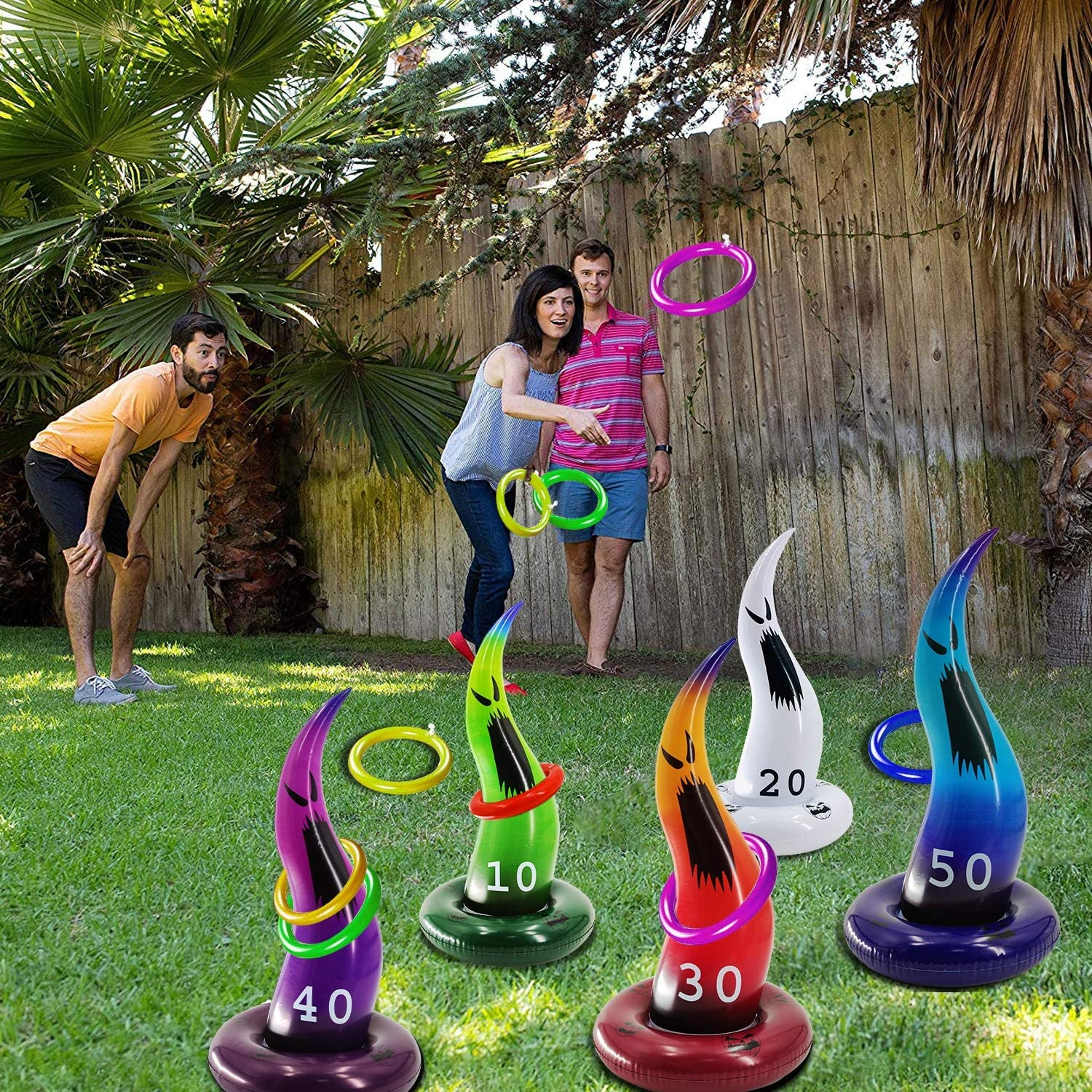 TURNMEON 5 PCS Inflatable Ghost Ring Toss Game for Kids Halloween Inflatable Party Games Halloween School Carnival Party Supplies Indoor Outdoor Games for Kids