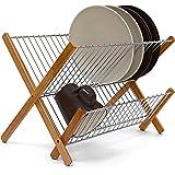 Relaxdays Égouttoir à vaisselle CROSS en Inox/ Bambou Ustensile de cuisine Accessoire Déco 27 x 38 x 29 cm pliable, nature