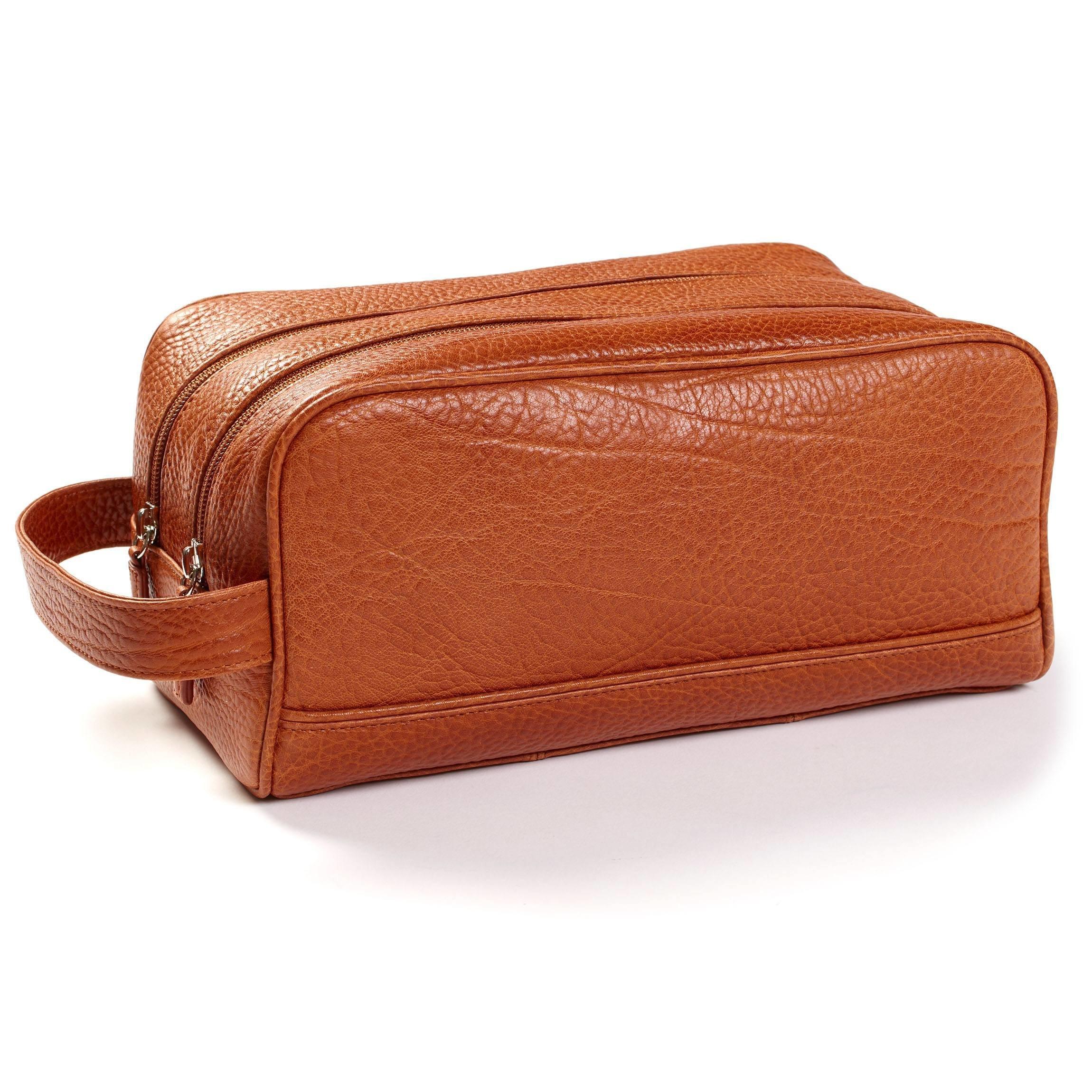 Leatherology Double Zip Toiletry Bag - Italian Leather - Whiskey (brown)