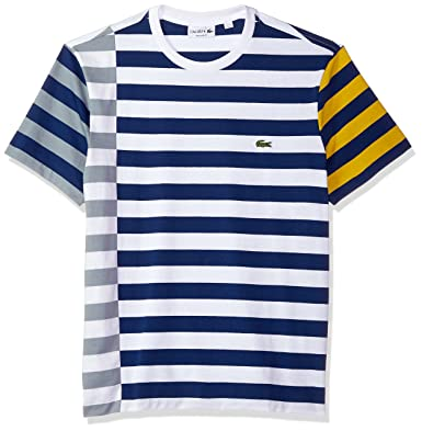 c70b64a4 Lacoste Men's Short Sleeve Broken Striped Jersey Tee-Relaxed Fit,  White/Mill Blue