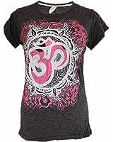 Camiseta Vintage de rosa Om Symbol omtimistic–Tees de yoga para mujer