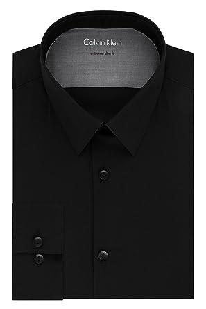 "328ff6459ee9 Calvin Klein Men's Dress Shirts Xtreme Slim Fit Solid Thermal Stretch, Black,  14"""