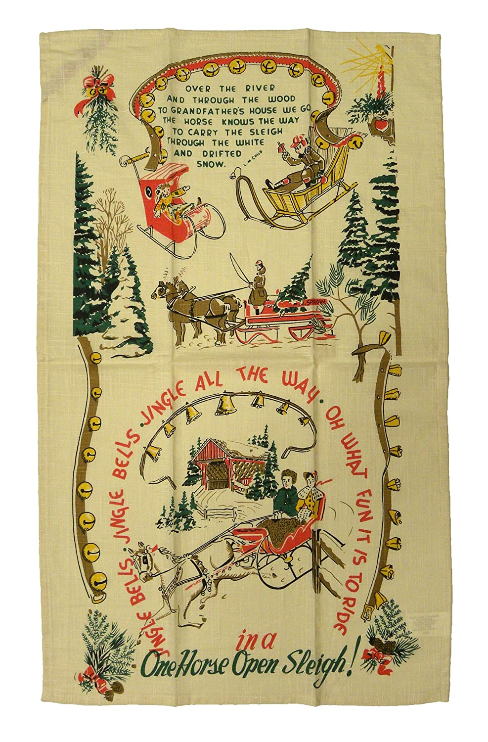 Jingle All the Way Vintage Style Christmas Towel Moda Home 961-25