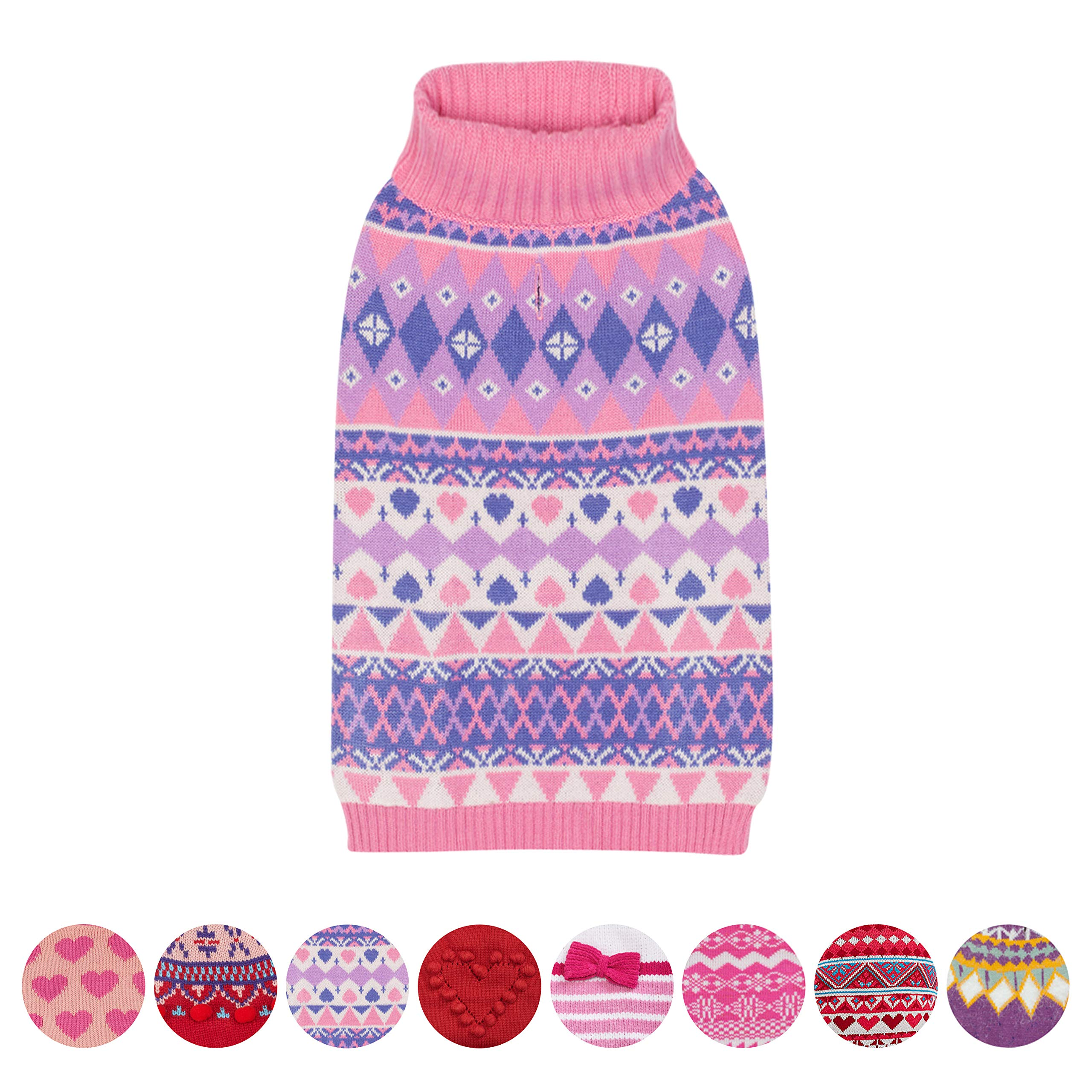 Blueberry Pet 8 Patterns Vivid Tone Sweet Winter Bloom Designer Pullover Dog Sweater with Valentine Heart in Carnation Pink and Sheer Lilac, Back Length 12'', Pack of 1 Clothes for Dogs