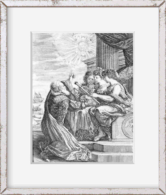 Foto infinita 1655 Foto: Galileo ofreciendo su telescopio a tres mujeres | Descubrimientos astronómicos | Reproducción de fotos vintage