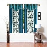 Blexos Saawaan Polyester Kolaveri 4x5 ft Window Curtain (Aqua) -Set of 2