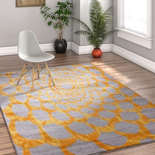 Alberta Floral Yellow Grey Modern Geometric Circles Swirls Spiral 5×7 5 x 7 Area Rug