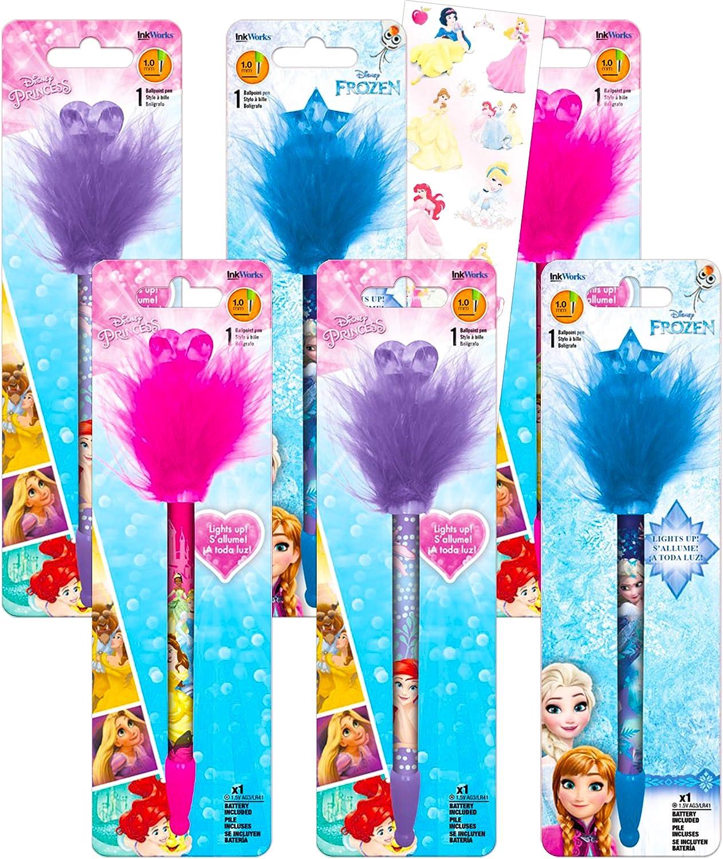 Disney Princess Pens Ultimate Bundle - 6 Pack Princess School Supplies Office Decor Disney Princess Pom Pom Pens Elsa, Anna, Ariel, Belle, And More (Disney Princess Office Supplies)