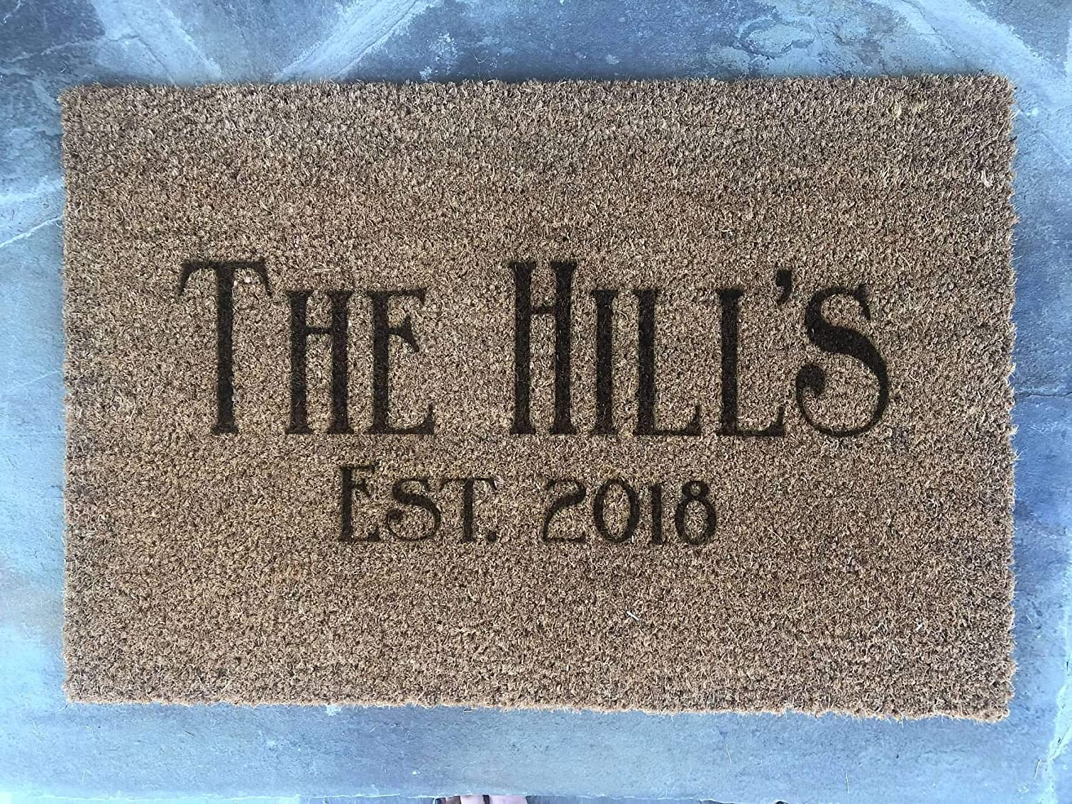 Personalized Family Name Date Door Mat Doormat Front Entry Way Laser Burnt Natural Trampa Ikea Brand Wedding New Home Housewarming Gift FREE Shipping