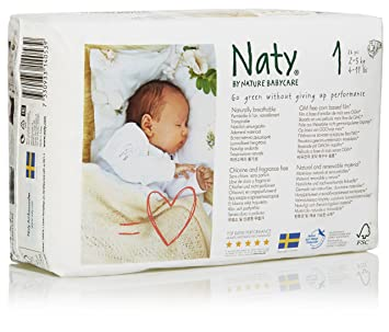 Branded Naty, ECO By Naty Diapers, Size 1, 26 Diapers , - Branded